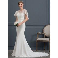 Trumpet/Mermaid Scoop Neck Court Train Chiffon Wedding Dress