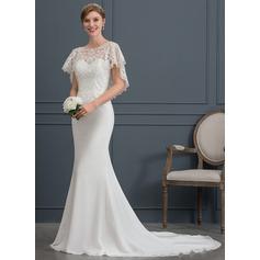 Trompete/Sereia Decote redondo Cauda de sereia Tecido de seda Vestido de noiva