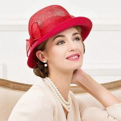 Señoras' Elegante Ratán paja con Bowknot Bombín / cloché Sombrero