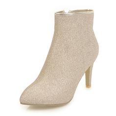 Femmes Pailletes scintillantes Talon stiletto Escarpins Bottes Bottes mi-mollets avec Zip chaussures