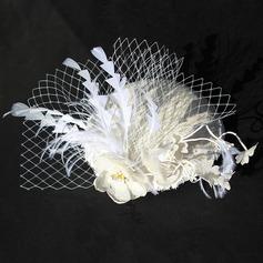 Dames Glamour Coton avec Feather/Une fleur Chapeaux de type fascinator