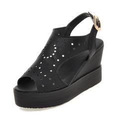 Kvinnor Kilklack Sandaler Pumps Kilar Peep Toe Slingbacks med Ihåliga ut skor