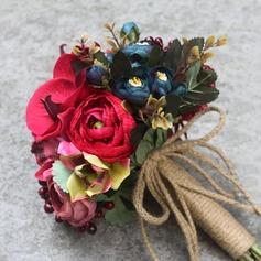 Vermelho Seda artificiais Buquês de noiva -