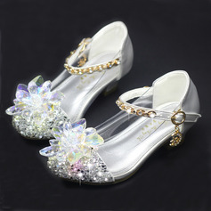 Pigens Round Toe funklende glitter Flower Girl Shoes med Crystal