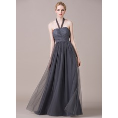A-Line/Princess Halter Floor-Length Tulle Lace Bridesmaid Dress With Ruffle
