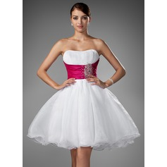 Vestidos princesa/ Formato A Coração Curto/Mini Organza de Vestido de boas vindas com Pregueado Cintos Bordado