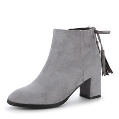 Frauen Veloursleder Stämmiger Absatz Absatzschuhe Stiefel Stiefelette mit Reißverschluss Quaste Schuhe