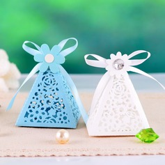 Pyramid Favor Boxes With Ribbons (Set of 12)