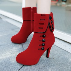 Women's Suede Stiletto Heel Boots Mid-Calf Boots With Rivet Zipper shoes