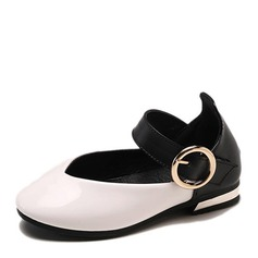 Girl's Round Toe Closed Toe Leatherette Flat Heel Flats Flower Girl Shoes With Buckle
