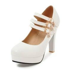 Frauen PU Stämmiger Absatz Absatzschuhe Plateauschuh Geschlossene Zehe mit Schnalle Schuhe