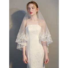 Two-tier Lace Applique Edge Fingertip Bridal Veils (006146874)