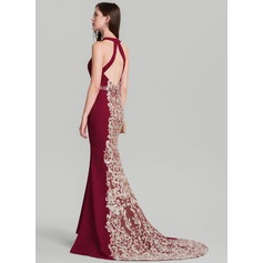 Trumpet/Mermaid Scoop Neck Sweep Train Satin Evening Dress With Beading Sequins (017126618)