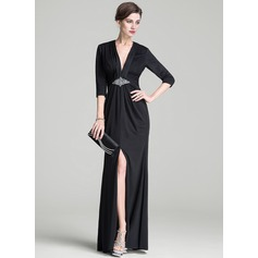 Sheath/Column V-neck Floor-Length Jersey Mother of the Bride Dress With Ruffle Beading Sequins Split Front (008072719)