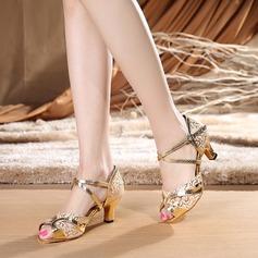 Женщины ткань Лакированная кожа На каблуках Сандалии Латино с Ремешок на щиколотке Обувь для танцев
