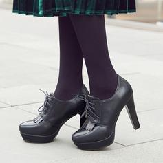Naisten Keinonahasta Chunky heel Avokkaat Suljettu toe jossa Nauhakenkä kengät