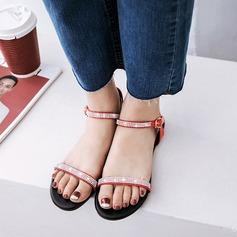 Kvinner Lær Flat Hæl Sandaler Flate sko Titte Tå Slingbacks med Rhinestone Spenne sko