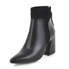 Women's Leatherette Chunky Heel Boots Martin Boots With Buckle shoes