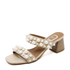 Women's PU Chunky Heel Sandals Slippers With Imitation Pearl shoes