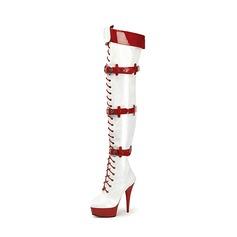 Женщины Лакированная кожа Высокий тонкий каблук На каблуках Платформа Ботинки Сапоги выше колен с пряжка Шнуровка обувь