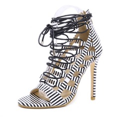 Women's Leatherette Stiletto Heel Sandals Pumps Peep Toe With Zipper Lace-up shoes