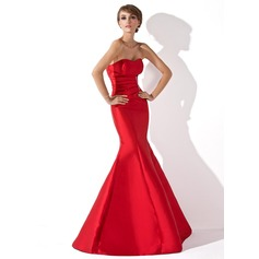 Trumpet/Mermaid Sweetheart Floor-Length Taffeta Evening Dress With Ruffle Beading
