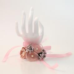 Style Classique Attaché à la main Satiné/Perle d'imitation Corsage du poignet -