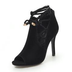 Donna Camoscio Tacco a spillo Sandalo Stiletto Punta aperta con Allacciato scarpe