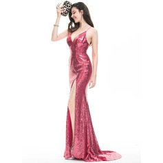Sheath/Column V-neck Sweep Train Sequined Evening Dress With Split Front