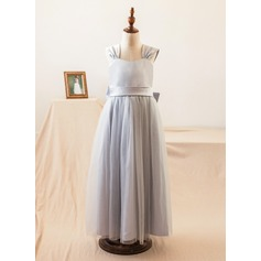 Forme Princesse Longueur ras du sol Robes à Fleurs pour Filles - Satiné/Tulle Sans manches Bretelles avec À ruban(s)