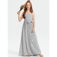 A-Line Square Neckline Floor-Length Chiffon Junior Bridesmaid Dress With Ruffle Bow(s)