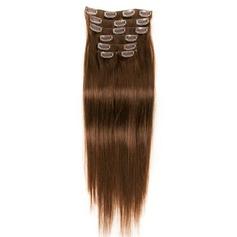 4A Ej remy Rakt människohår Klämma i hårförlängningar 7pcs 100g