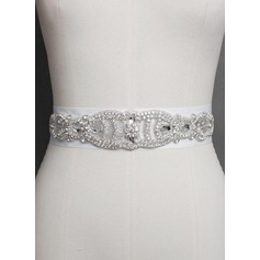 Elegant Satin Sash With Crystal/Rhinestones (015071968)