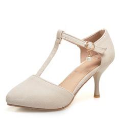 Frauen Veloursleder Stöckel Absatz Sandalen Absatzschuhe Geschlossene Zehe mit Schnalle Schuhe