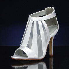 Women's Silk Like Satin Stiletto Heel Peep Toe Sandals With Hollow-out (047143531)