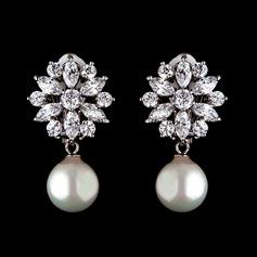 Schöne Perle/Zirkon Damen Ohrringe