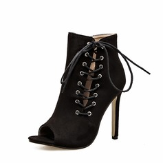 Women's Suede Stiletto Heel Pumps Boots Peep Toe Ankle Boots With Lace-up shoes