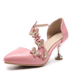Kvinnor Konstläder Stilettklack Sandaler Pumps Stängt Toe med Nita Blomma skor