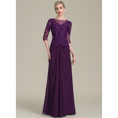 A-Line/Princess Scoop Neck Floor-Length Chiffon Lace Mother of the Bride Dress With Ruffle Beading Sequins (008107652)