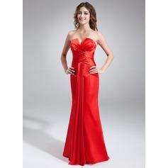 Trompete/Sereia Decote V Longos Charmeuse Vestido de Férias com Pregueado