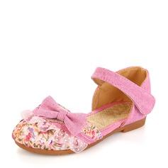Fille de Toile talon plat bout rond Chaussures plates avec Bowknot Couture dentelle Velcro