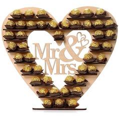 Hjärta Formad Hjärta Formad Trä Choklad Fame (Säljs i ett enda stycke)