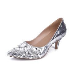 Women's Real Leather Low Heel Closed Toe Pumps With Rhinestone