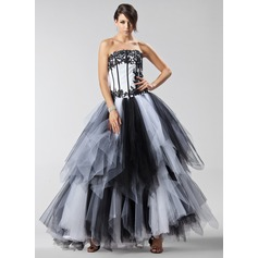 Ball-Gown Strapless Floor-Length Tulle Quinceanera Dress With Appliques Lace Cascading Ruffles