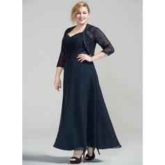 Corte A/Princesa Novio Hasta el tobillo Gasa Encaje Vestido de madrina