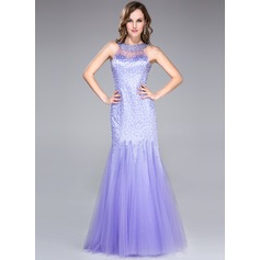 Trumpet/Mermaid Floor-Length Tulle Prom Dress With Beading Sequins