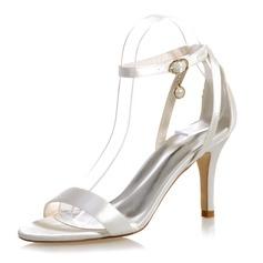 Kvinder Satin Stiletto Hæl Kigge Tå sandaler med Spænde
