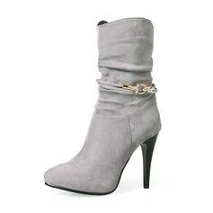 Frauen Veloursleder Stöckel Absatz Absatzschuhe Stiefel Stiefel-Wadenlang mit Strass Reißverschluss Schuhe