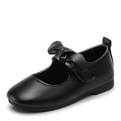 Fille de bout rond Bout fermé similicuir talon plat Chaussures plates Chaussures de fille de fleur avec Bowknot Velcro
