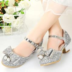 Pigens Lukket Tå funklende glitter Flower Girl Shoes med Bowknot